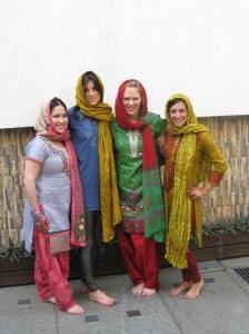 Ceremony Day. Three brunettes and a blonde go to India.