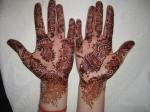 "My wedding Mehndi-one of my only saving graces when I traveled north. You could tell when passers by would say ""Ooh, nice mehndi,"" in Hindi. The darker it gets the better. I was told it will mean that your husband will love you more......"